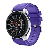 Polwer Replacement Bands Compatible for Samsung Galaxy Watch 46mm, Fashion Soft Silicone Watch Band Smartwatch Strap Wristband Accessories for Women and Men (Purple)