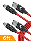PowerBear Type C Cable [2-Pack] USB Type-C Cable 3.0 USB-A to USB-C Cable [6ft] Fast Charge & Data Transfer | Heavy Duty with High Strength Braided Nylon USB C - Red [24 Month Warranty]