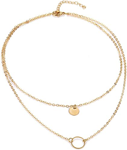 Amazon Com Wll Double Gold Layered Chain Necklace Simple Dainty Disc Round Sequin Coin Necklace For Women Bridal Choker Jewelry Circle Karma Necklace Gd Jewelry
