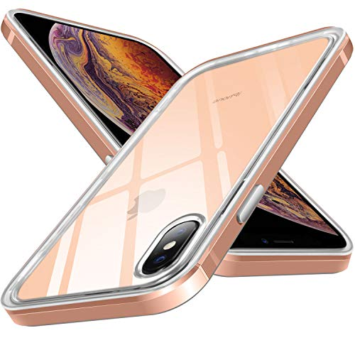 Ansiwee Compatible Crystal Clear Back Case for iPhone Xs Max, Soft TPU Rubber Gel Silicone Shock-Absorption Transparent Back PC Bumper Hybrid Case for Apple iPhone Xs Max 6.5 Display (Gold)