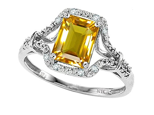 Citrine Emerald Ring (Star K Emerald Cut 8x6 mm Genuine Citrine Ring 10 kt White Gold Size 7)