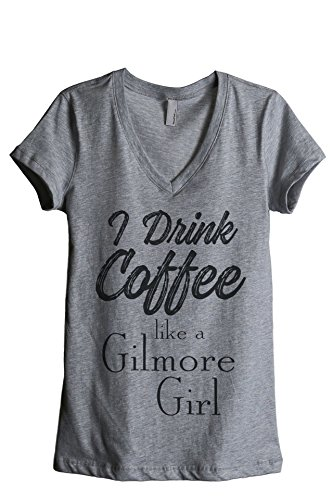 Thread Tank Drink Coffee Gilmore Girl Women's Relaxed V-Neck T-Shirt Tee Heather Grey Small