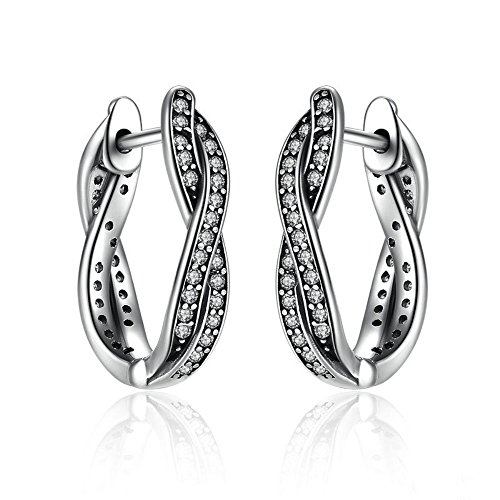 Authentic 925 Sterling Silver Twist Of Fate Stud Earrings, Clear CZ for Women Wedding Fashion - Lesson Sunglasses Cheap