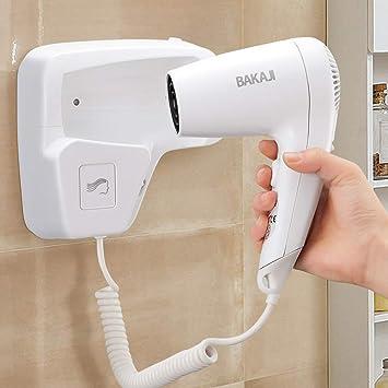 Bakaji - Secador de pared para el pelo, 1100 W, doble velocidad seleccionable, color blanco: Amazon.es: Belleza