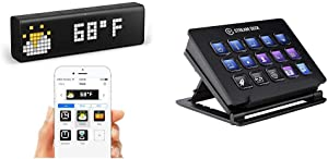 LaMetric Time Wi-Fi Clock for Smart Home Bundle with Elgato Stream Deck - Live Content Creation Controller with 15 Customizable LCD Keys, Adjustable Stand, for Windows 10 and macOS 10.11 or Later
