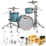 Ludwig USA LK7243KXTQ Turquoister 3-Pc Shell Pack w/ Accessories, Bass Pedal, Zildjian KCH390 Cymbals & Hardware