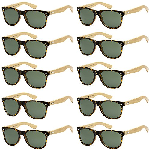 WHOLESALE BAMBOO ECO FRIENDLY MODERN RETRO 80'S CLASSIC SUNGLASSES - 10 PACK (Classic Tortoise | Olive Lens, - Wholesale La Sunglasses