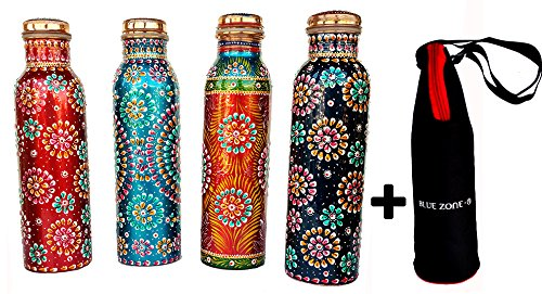 Rastogi Handicrafts Copper Joint less leak-proof Water storage Bottle for Health Benefit Set of 4 With One Insulated Bag (FREE) by Rastogi Handicrafts
