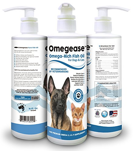 100% Pure Omega 3, 6 & 9 Fish Oil for Dogs and Cats - Best for Scratching, Joint Pain, Skin & Coat, Immune & Heart...