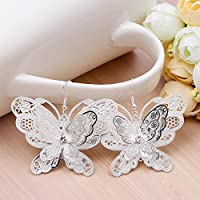 Siam panva Women Fashion 925 Silver Butterfly Dangle Drop Hook Earrings Wedding Jewelry New