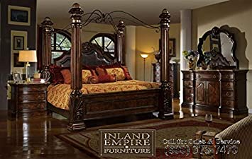 Amazon Com Inland Empire Furniture Giana Queen Adult Canopy Bed Set Kitchen Dining