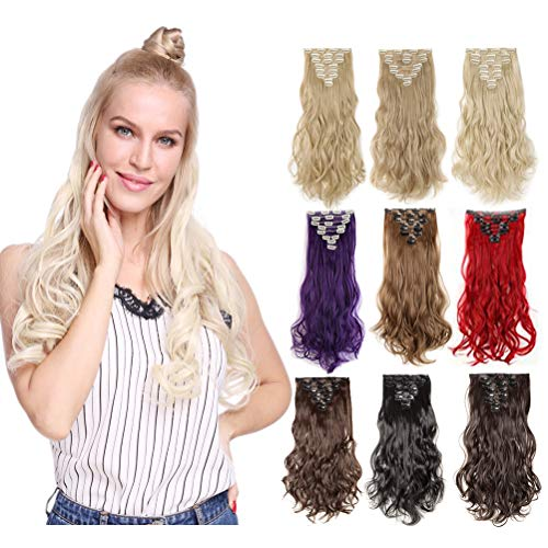 (8PCS Clip In Hair Extensions Highlight 23-26'' Straight 17-24 inches Wavy Curly Full Head 18Clips Women colorful Hairpiece Black Brown Blonde Purple Ombre (17