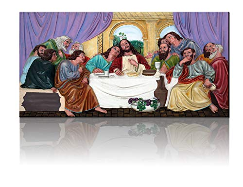 African American Last Supper Picture with Frame Cuadros de la Ultima Cena de Jesucristo Paintings 3 Panel Canvas 12 Apostles Wall Artwork Home Decor for Living Room Framed Ready to Hang(20