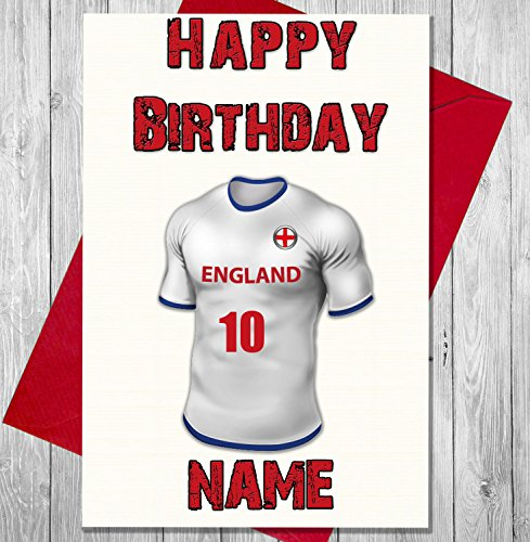 AKGifts Personalised England Football Birthday Card - Any Name And Numbered Shirt