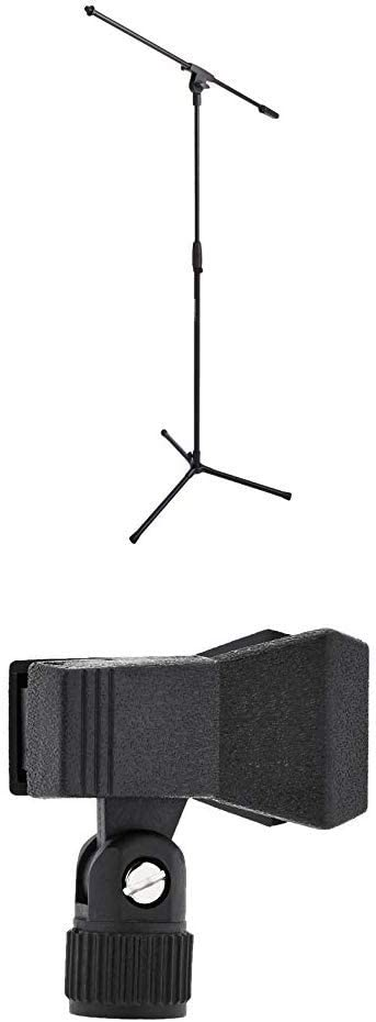 AmazonBasics Tripod Boom Microphone Stand with Clothespin Style Microphone Clip