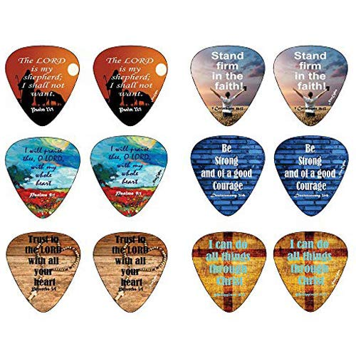 Guitar Necklace Christian Pick - Christian Guitar Picks with Popular Bible Verses -12 Pack Celluloid Medium - Cool Acoustic and Electric guitar Accessories - Unique Gift for Men and Women Guitarists - Best Stocking Stuffers