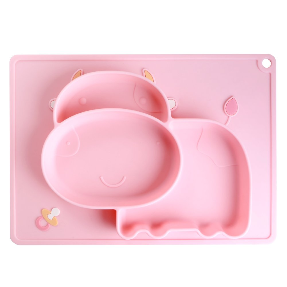 iSolem Baby Silicone Placemat, Non-Slip Toddlers Food Feeding Mat for Children, Kids, Infant, Kitchen Dining Table -Perfect Highchair Trays for Travel - Pink Cow
