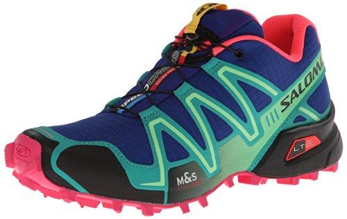 Salomon Womens Speed Cross 3 W Trail Running ShoeBlueEmerald GreenHot Pink8.5 M US
