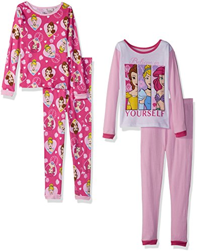 Disney Girls' Little Multi-Princess 4-Piece Cotton Pajama Set, Exceptionally Pink, 6
