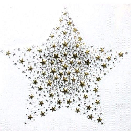(Rhinestone Transfer Hot Fix T-shirt Clothing Crafts Cushion Crystal Stars Gold Design 1 Sheets 8.4 * 7.8 Inch)