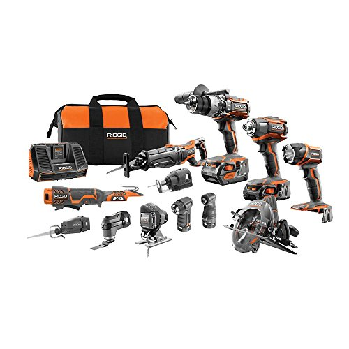 (RIDGID 18-Volt Lithium-Ion Cordless (12-Piece) Combo Kit with (1) 4.0Ah Battery and (1) 2.0Ah Battery, Charger and Bag)