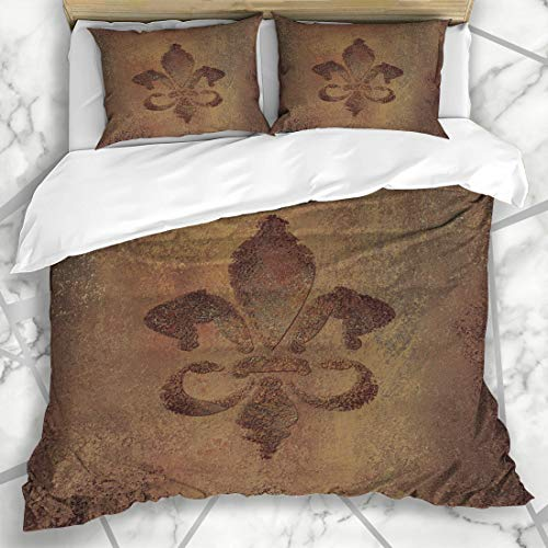 - Ahawoso Duvet Cover Sets Queen/Full 90x90 Rough Fleur Warm Earth Brown Old Artistic De Lis French Dark Abstract Aged Stationary Microfiber Bedding with 2 Pillow Shams