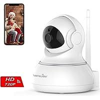 Caméra ip Sans Fil Wansview, Caméra Surveillance Wifi, Caméra Bébé, Caméra Sécurité de Animal de Compagnie/ Personnes âgées avec Audio Bidirectionnel, Vision Nocturne Pan/Tilt 720P Q3 (Blanche)