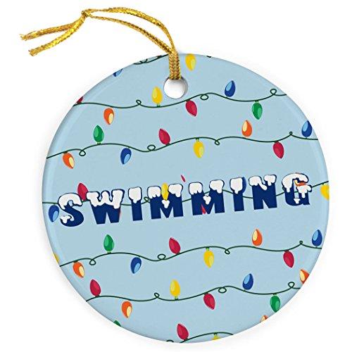 ChalkTalkSPORTS Swim With Christmas Lights Ornament | Swimming Porcelain Ornaments (Ornaments Swimming Pool)