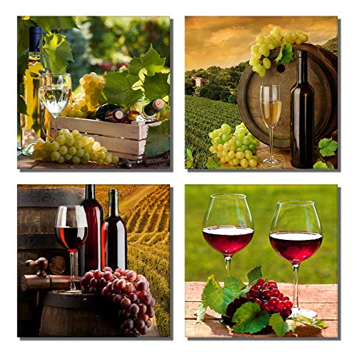 789Art – Grapes Wine Canvas Wall Art Abstract Wine Cup And Bottle Modern Decorative Painting Artwork Still Life Pictures Wall Decorations For Dining Room Kitchen Home Decor(12