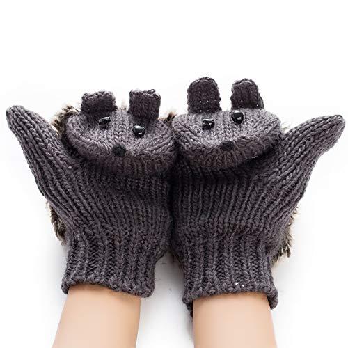 Pahajim Women's cute animal gloves Cartoon Hedgehog Winter Cotton Gloves Girls' Thick Mittens (grey) - Animal Gloves