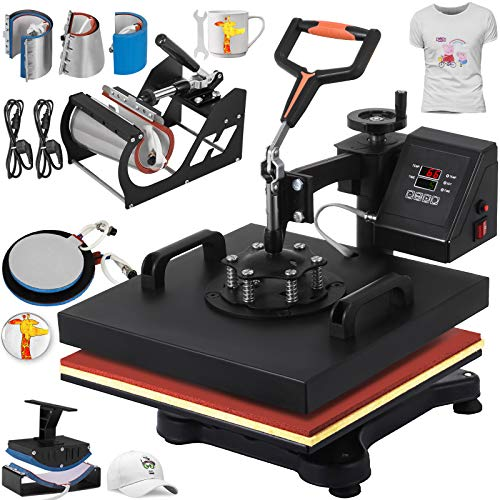 VEVOR Heat Press 12 X 15 Inch Heat Press Machine 8 in 1 Digital Multifunctional Swing Away Heat Press Machine for T Shirts Hat Mug Cap Plate(Gift T-Shirts and Stickers)