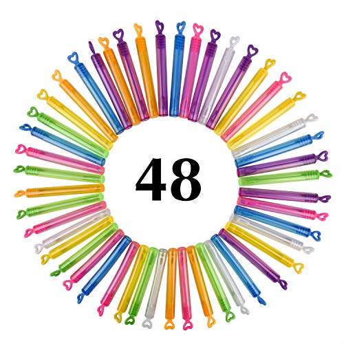 JRing Mini Bubble Wands, 48Pack Colorful Great Wand Bubbles Party Favors For Weddings Anniversaries by JRing