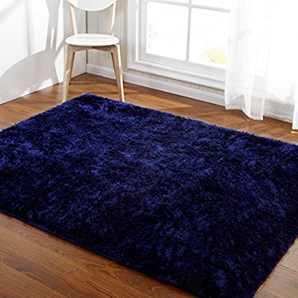 Amazon.com: Hoomy Fluffy Deep Blue Rugs Shaggy Bedroom Area Rugs ...