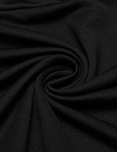 Angvns Manches Casual Demi-bloc De Couleur Des Femmes Plissée Mini Robe Sport Noir