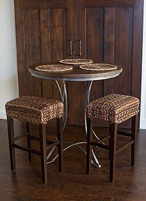 Bird Rock Seagrass Backless Barstool (Bar Height) | Set of 2 | Hand Woven | Mahogany Wood Frame | Comfortable