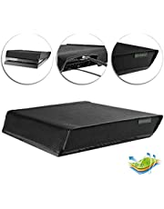 eXtremeRate Black Horizontal Dust Cover for Playstation 4 PS4 Console Custom Designed Double Layer Soft Neat Lining Waterproof Dustproof Precision Cut Easy Access Cable Port
