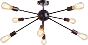 8 Light Sputnik Chandelier Black Rustic Flush Mount Ceiling Light Modern Pendant Lighting Fixtures for Kitchen Bathroom Dining Room Bedroom Hallway