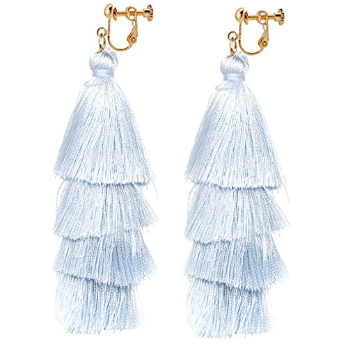 Thread Tassel Clip On Earrings Bohemian Tiered Fringe Deco Dangle Light Blue Gift