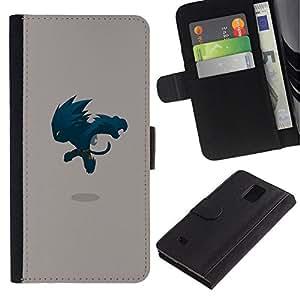 NEECELL GIFT forCITY // Billetera de cuero Caso Cubierta de protección Carcasa / Leather Wallet Case for Samsung Galaxy Note 4 IV // Monster Saltando