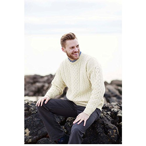 100% Natural Wool Crew Neck Aran Sweater Natural,X-Large ()