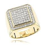 Mens 14K Gold Designer Pinky Rings Mens Diamond Band 1.6ctw (Yellow Gold, Size 10)