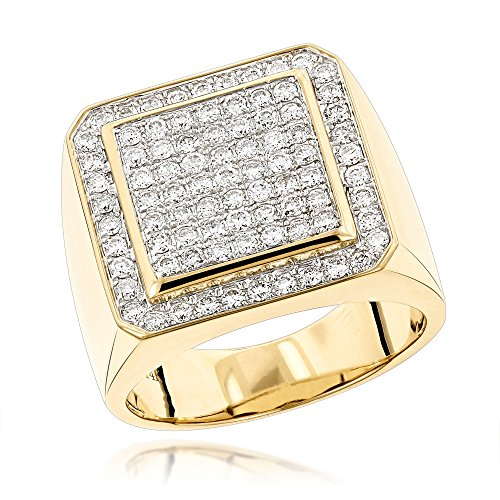 Mens 14K Gold Designer Pinky Rings Mens Diamond Band 1.6ctw (Yellow Gold, Size 10.5) 18k Yellow Gold Designer Band