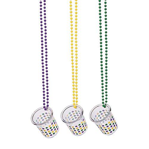 Fun Express - Mardi Gras Shot Glass Beaded Necklace for Mardi Gras - Jewelry - Mardi Gras Beads - Misc Mardi Gras Beads - Mardi Gras - 12 Pieces