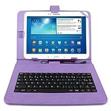 """Etui aspect cuir violet + clavier intégré AZERTY (français) et port de maintien pour tablette Samsung Galaxy Tab 3 P5200/P5210/ P5220 et Tab Pro 10,1"""" (PAS compatible Tab 1, Tab 2 et Note) + stylet tactile BONUS"""