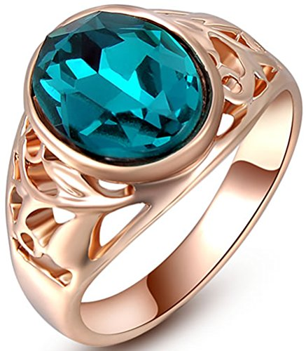TEMEGO Vintage Style Oval Cut Austrian Blue Crystal Rose Gold Ring,CZ Filigree Victorian Cut Out Ring