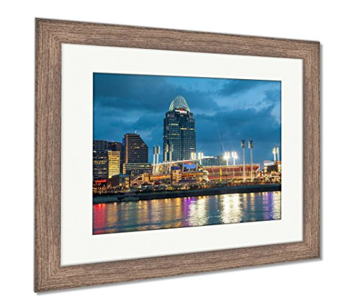 Ashley Framed Prints Great American Ball Park Stadium, Wall Art Home Decoration, Color, 26x30 (Frame Size), Rustic Barn Wood Frame, AG6115024