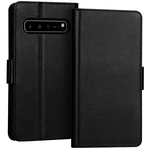 FYY Samsung Galaxy S10 5G Case Luxury [Cowhide Genuine Leather][RFID Blocking] Handcrafted Wallet Case, Handmade Flip Folio Case with [Kickstand Function] and[Card Slots] for Galaxy S10 5G Black (Case 5 Folio Samsung Galaxy)