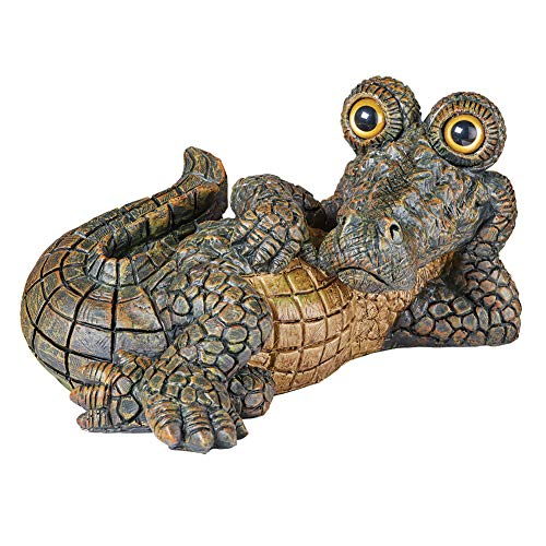 Collections Etc Lounging Crocodile Garden Statue, Hand-Painted Decoration for Yard or Garden