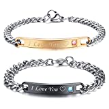 MMTTAO 2Pcs His & Hers Couple Bracelets I Love You Matching Set Anti-Scratch 316L Stainless Steel Relationship Couples Distance Chain Bracelet