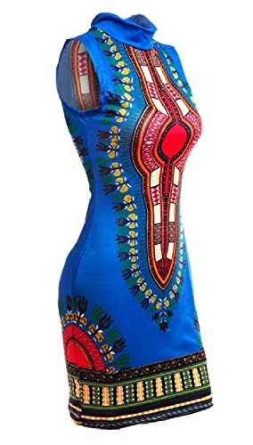 Blue Bodycon Sleeveless Women's Dress Dashiki Jaycargogo African Party Printed Fashion qfpwYz